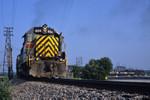 A detour train comes off the Crescent Bridge at Rock Island, Illinois with #604 up front.
