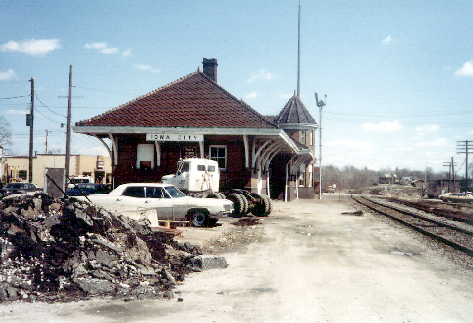 Rock Island depot in Iowa City, April 1980