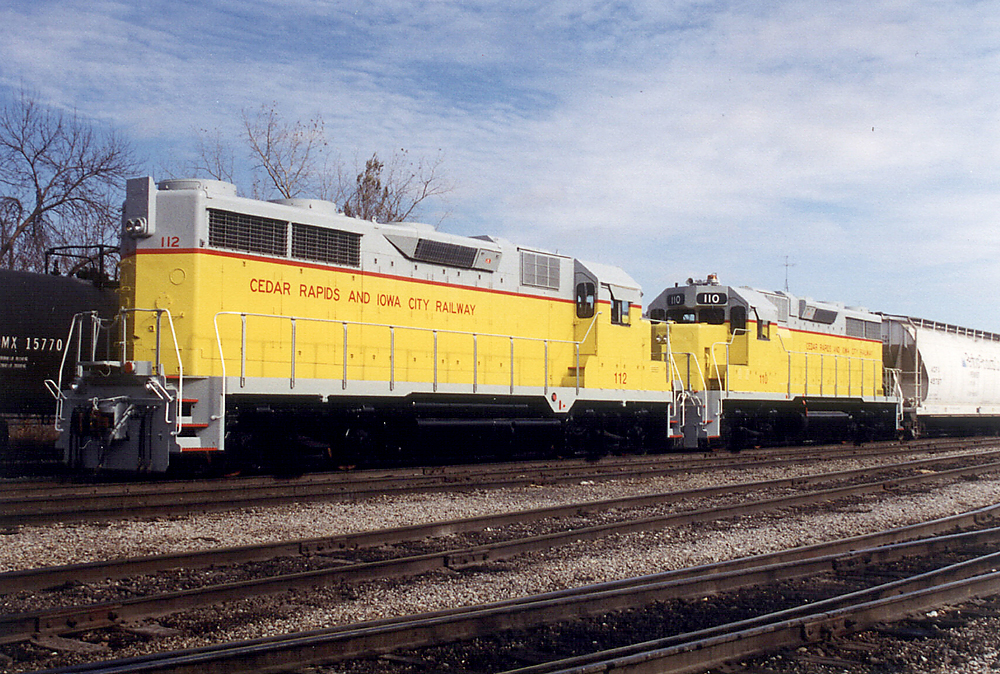 CIC GP's 112 and 110 enroute to the Crandic in the Iowa City Yard.