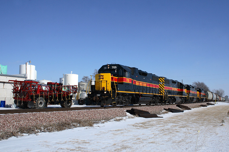 705 marches west through Walcott, Iowa with the west train, February 1st, 2007.