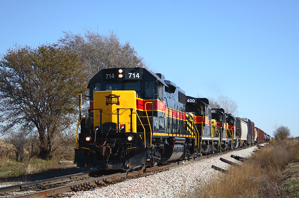 714 leads a very late west train at Walcott, Iowa  October 29th, 2006.