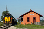 717 leads an ICCR train past the ex-MILW Amana, Iowa Depot, August 25th, 2007.