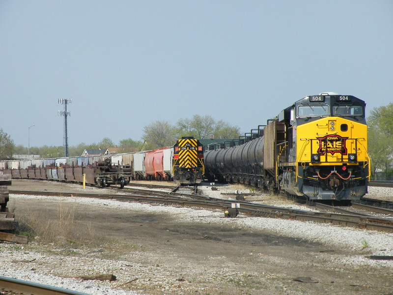 I wasn't really in the mood to stick around and wait for either train but I grabbed the usual quickie shot at Burr Oak Yd... Iowa 156 all by her lonesome sits with BICB while 506, also solo blast, sits with an empty ethanol train. 04-13-10