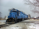 LLPX 2043 rolls into East Moline, Illinois with the West Train  February 24, 2003
