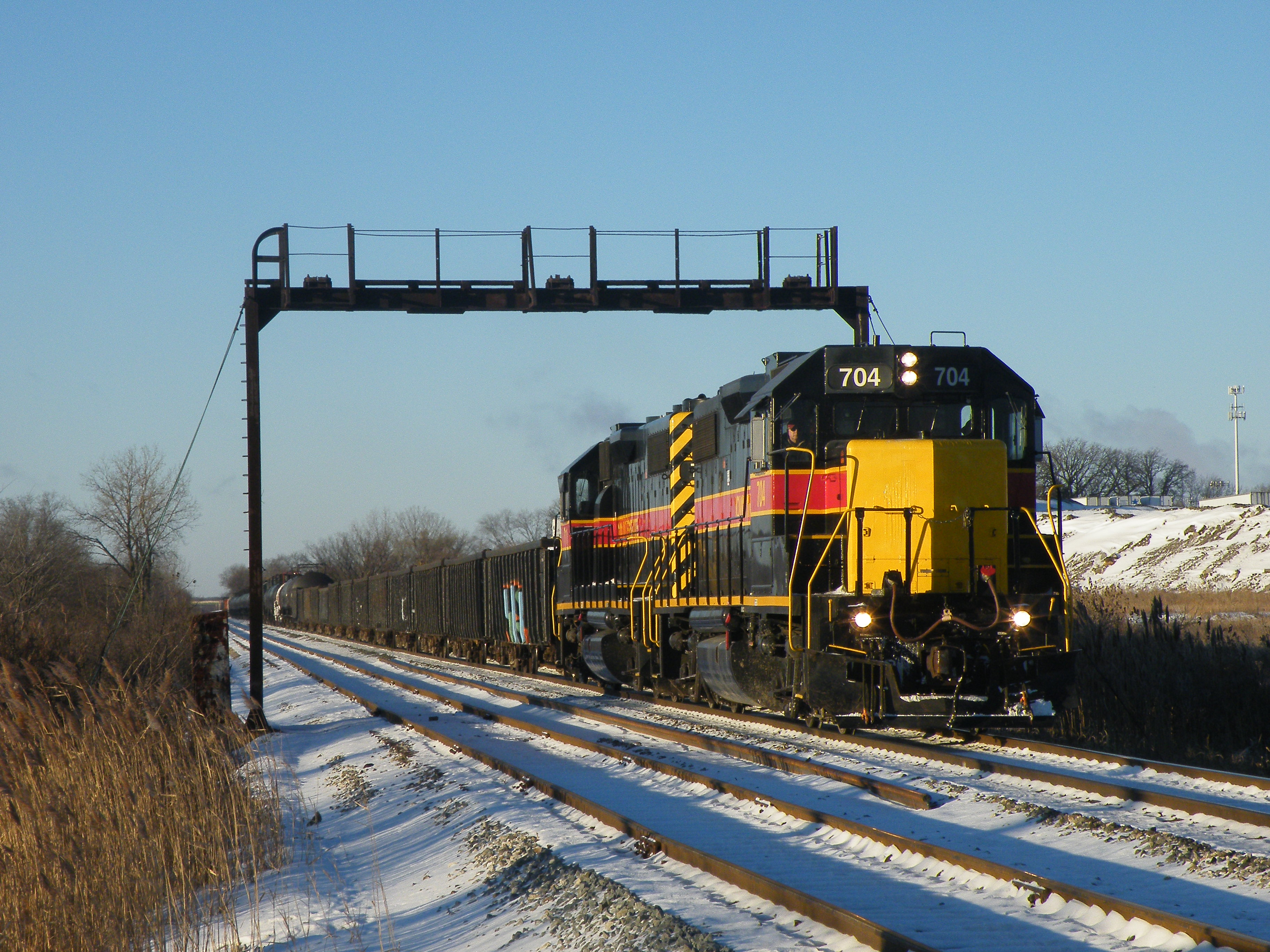 Iowa 704 leads 711 with an extra RIBI on a frigidly cold December morning. 12-13-10