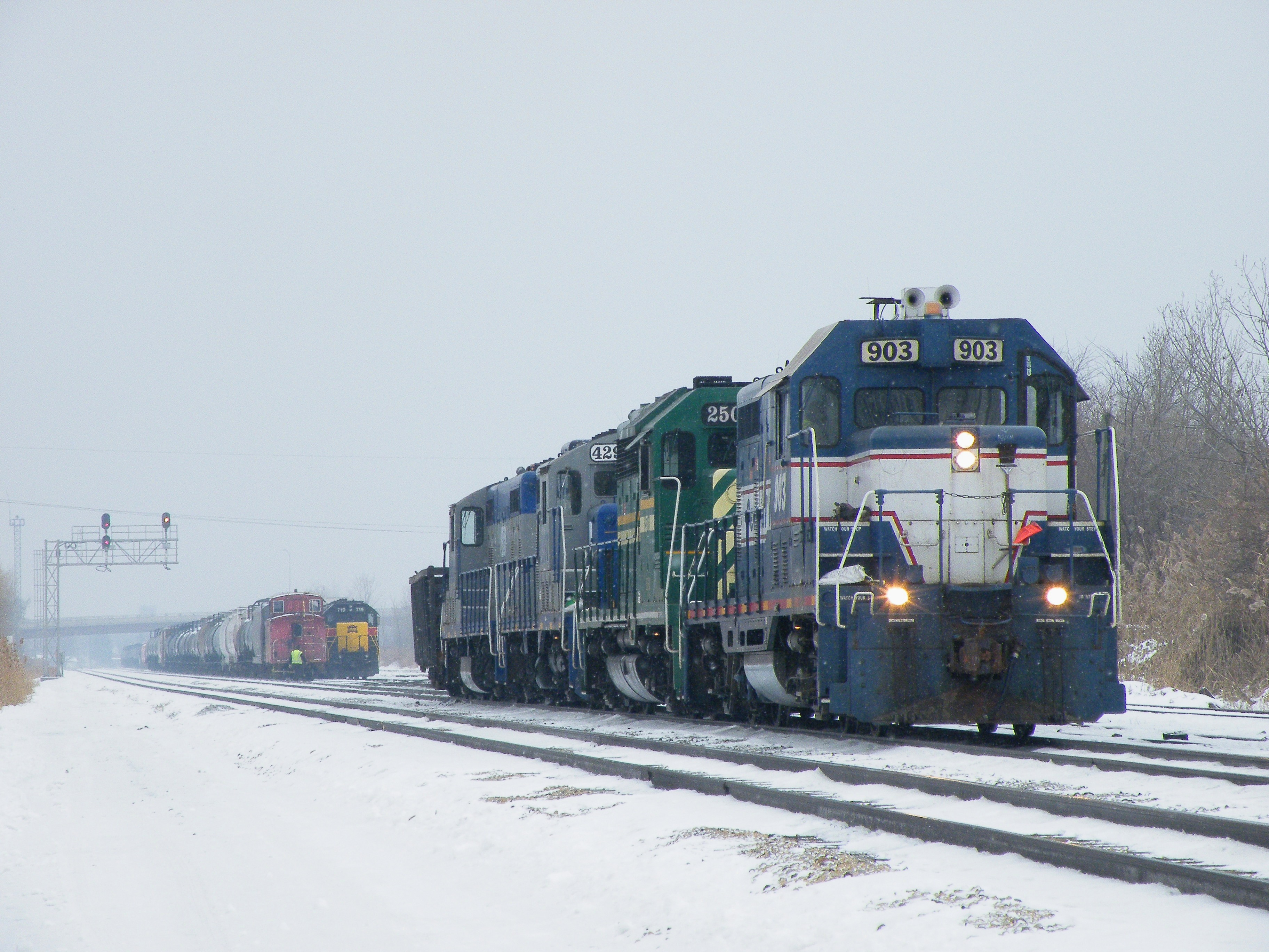 Taking headroom down the main, you can see the IAIS local power and caboose tied down for Christmas Eve. 12-24-10.