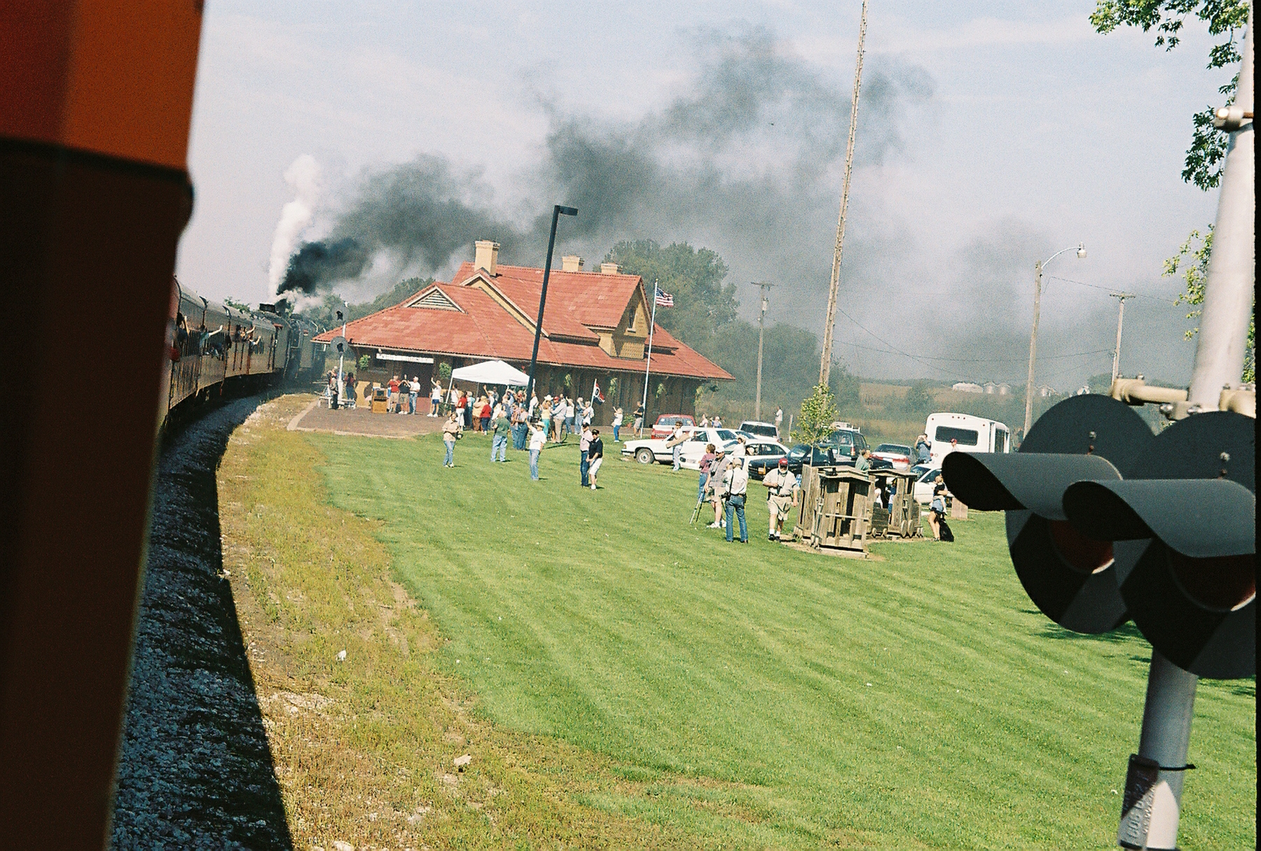 Westbound steam train arrives in West Liberty, Sept. 15, 2006.
