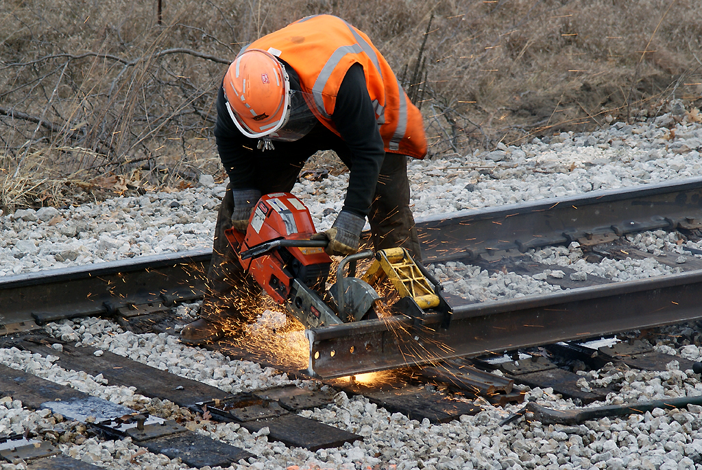 Cutting the rail end.