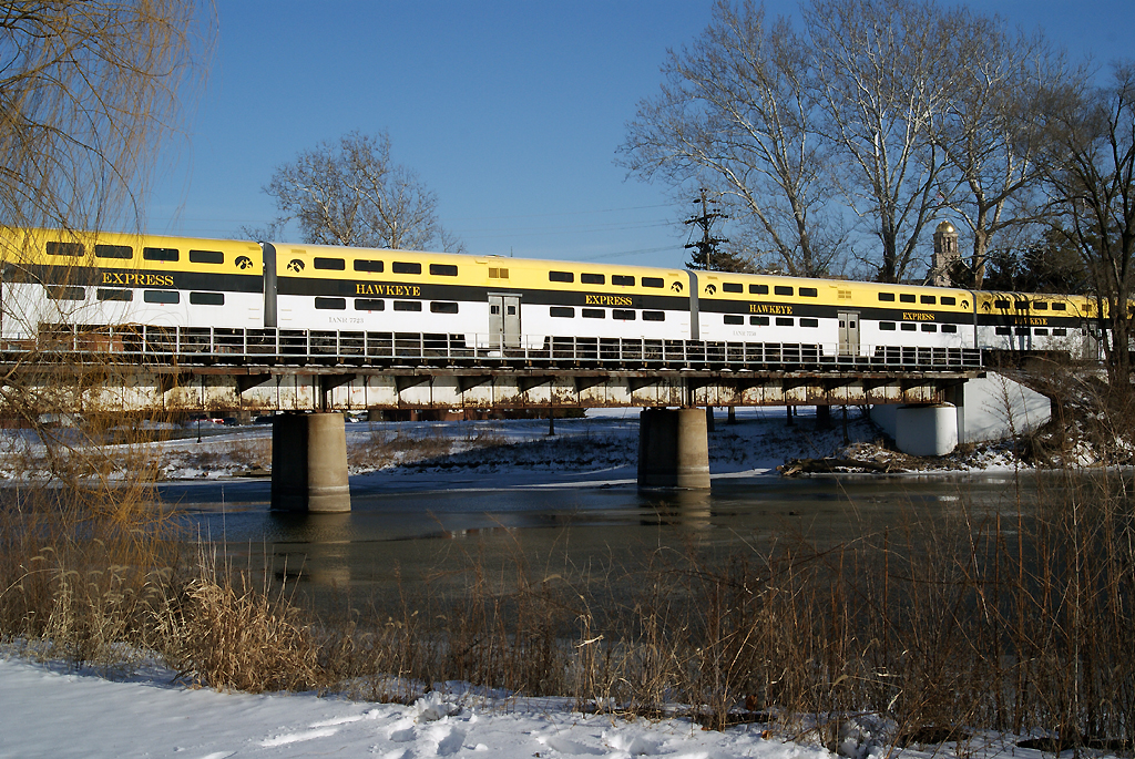 The Hawkeye Express crossing the Iowa River.