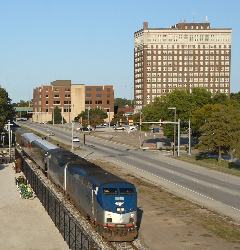 Passing John Deere Commons in Moline, Illinois as the LeClaire Hotel looms in the background.