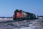 401 on the CBBI entering the west end of the Des Moines yard. 8-Feb-1988.
