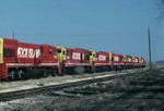 The only six axle GE's owned by the Rock Island await their fate at Silvis in this 26-March-1989 photo. What a surprise to find them, but sad to see their condition.