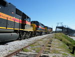 A very clean SD38-2 and fairly dirty GP38-2 trail the 500, on the approach to the Gov't. bridge. 09-30-10