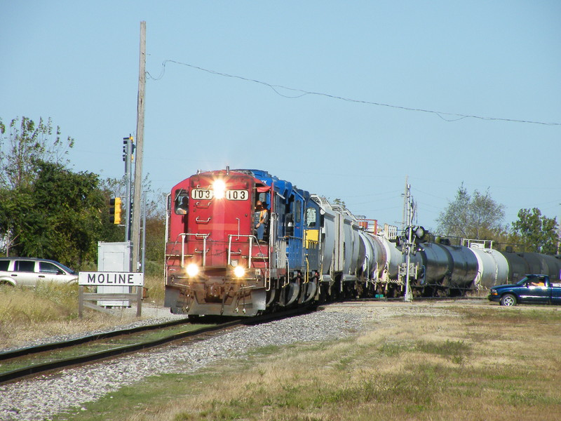 ICE 103 passes the Moline town sign on the BN Industrial Joint track with the Iowa. 09-30-10