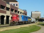 ICE GP9 103 passes the new sight of the future Amtrak depot in downtown Moline, IL. 09-30-10