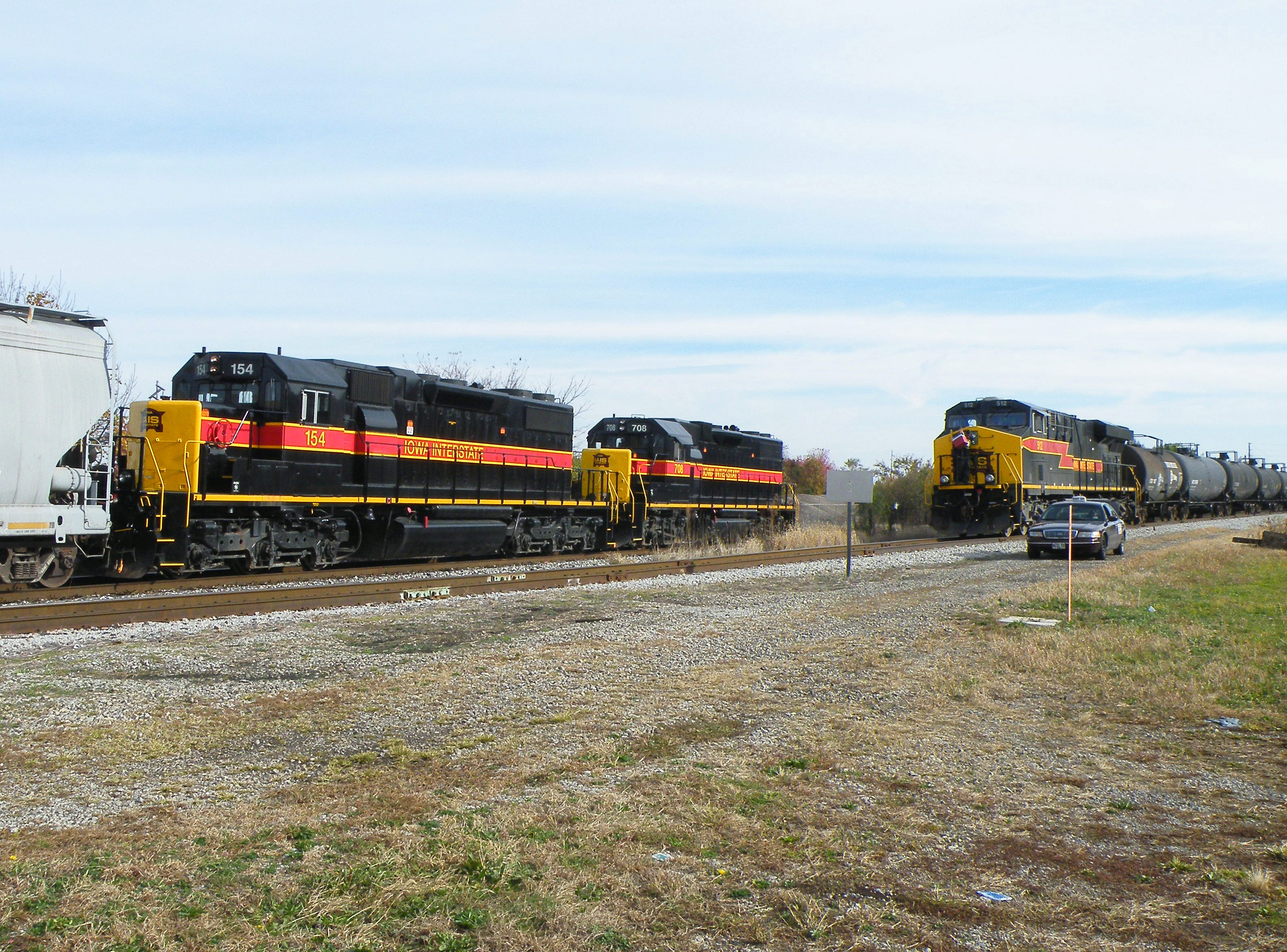 The RISW passes the BIRI as they tie the train down in Moline siding. 10-25-10