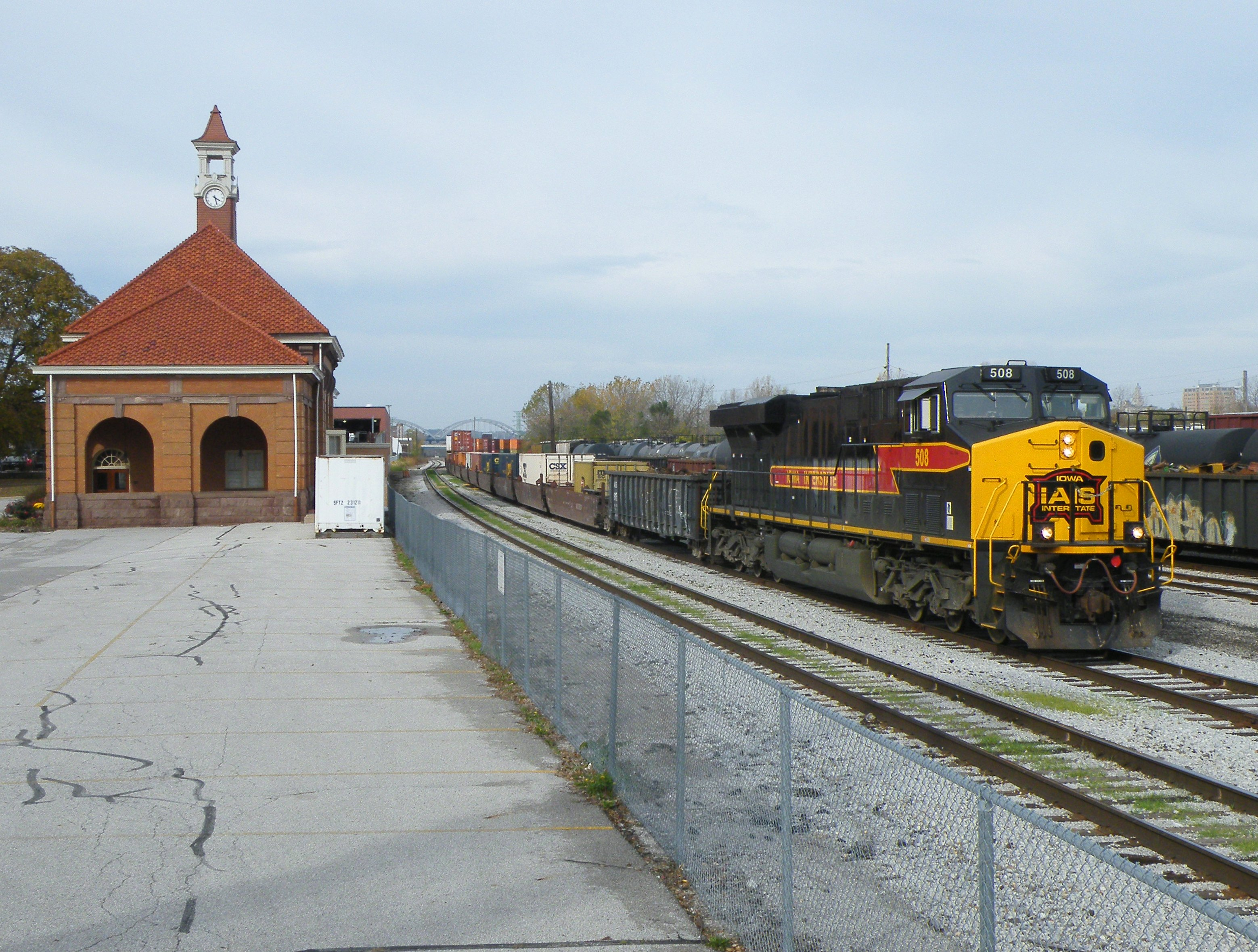 CBBI passes the restored RI depot. 10-25-10
