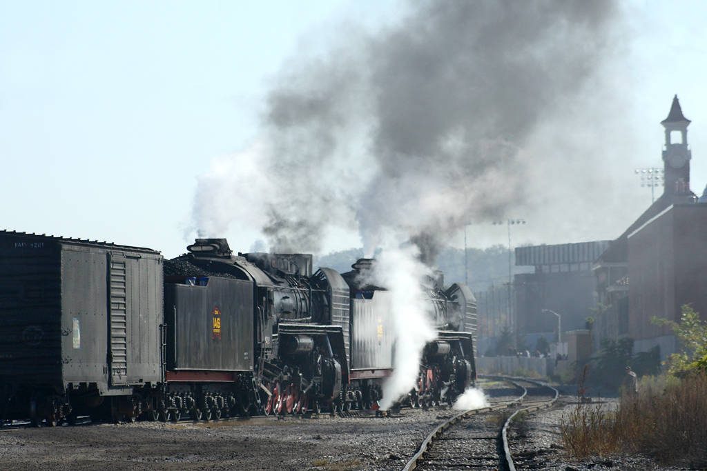The QJs pull into the throat of Rock Island Yard. After pulling off the ICRI manifest, the two steamers will be split up for separate excursion runs to Silvis, Illinois and Walcott, Iowa. 10/18/08