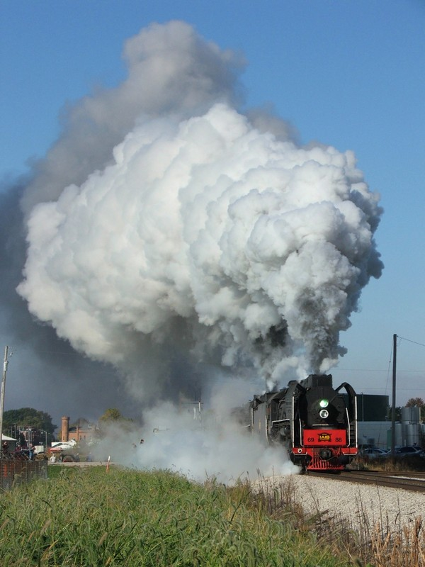 With full heads of steam, the pair of 2-10-2's thunder out of Wolcott after a much needed water stop, this was the roll-by of the trip...