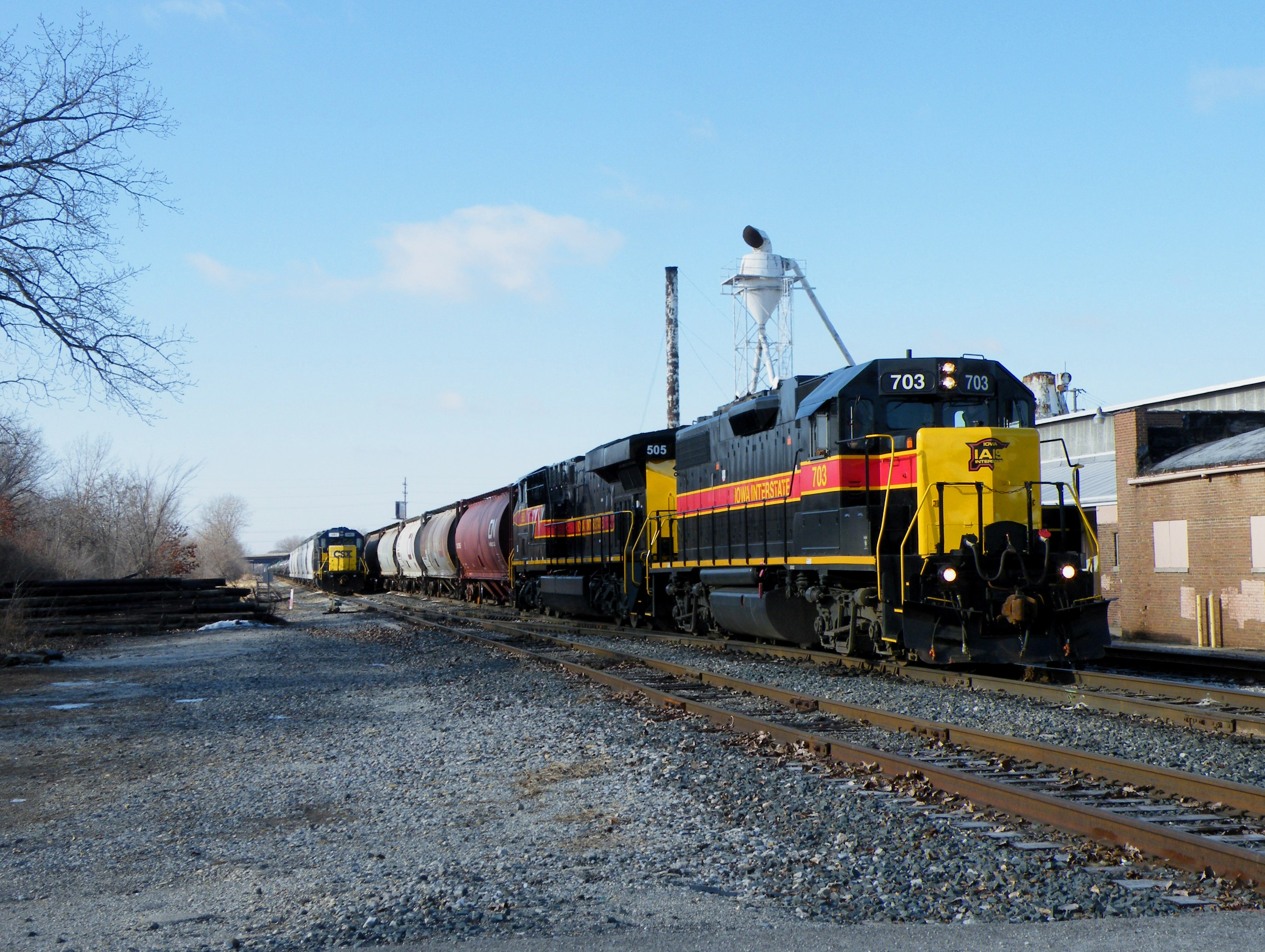 RIBI heads through downtown Rockdale with 703 leading the 505 12-28-08