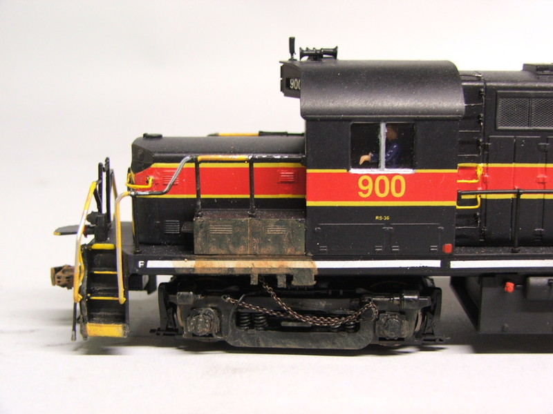 Side view of the conductors side cab, showing off the custom brake chain and weathering.
