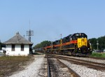 720 leads a pair of 700's and a SD38-2 on a loaded ethanol for delivery to the CRL and forwarding to the NS at Blue Island. The train is struggling through the town of Seneca, IL, and all units are online and Run 8.