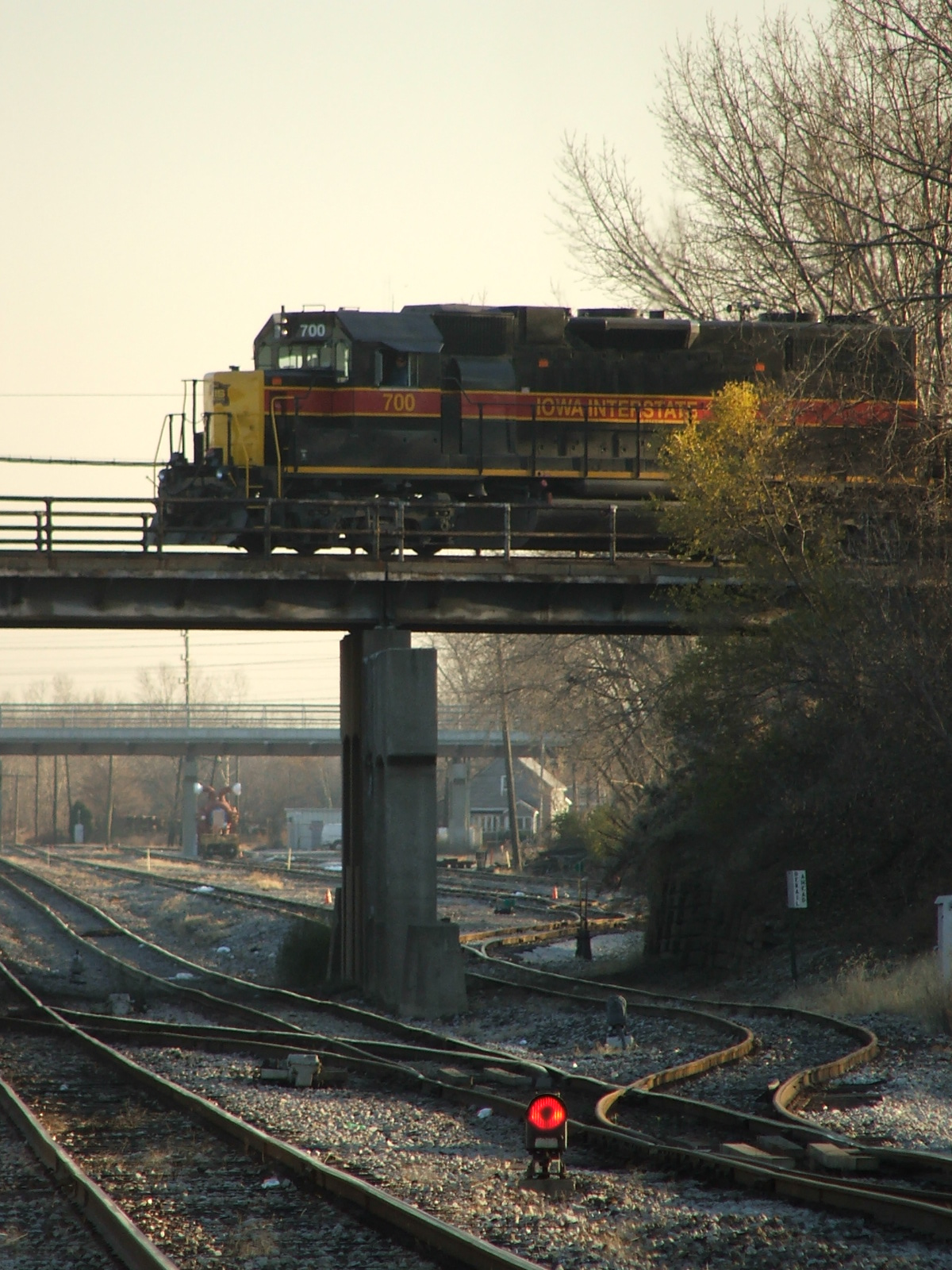 Iowa 700 heads over the old GTW in Blue Island for Burr Oak Yd. 11-09-06