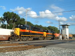 700 and 705 shove past the BI Jct. grade crossing with a BISW. 08-05