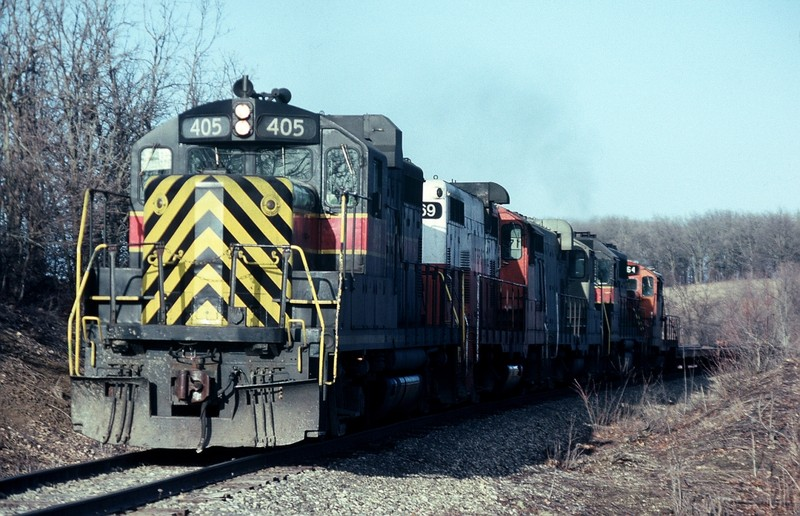 405 on the point of the CBBI east of Des Moines, Iowa, March-1992.