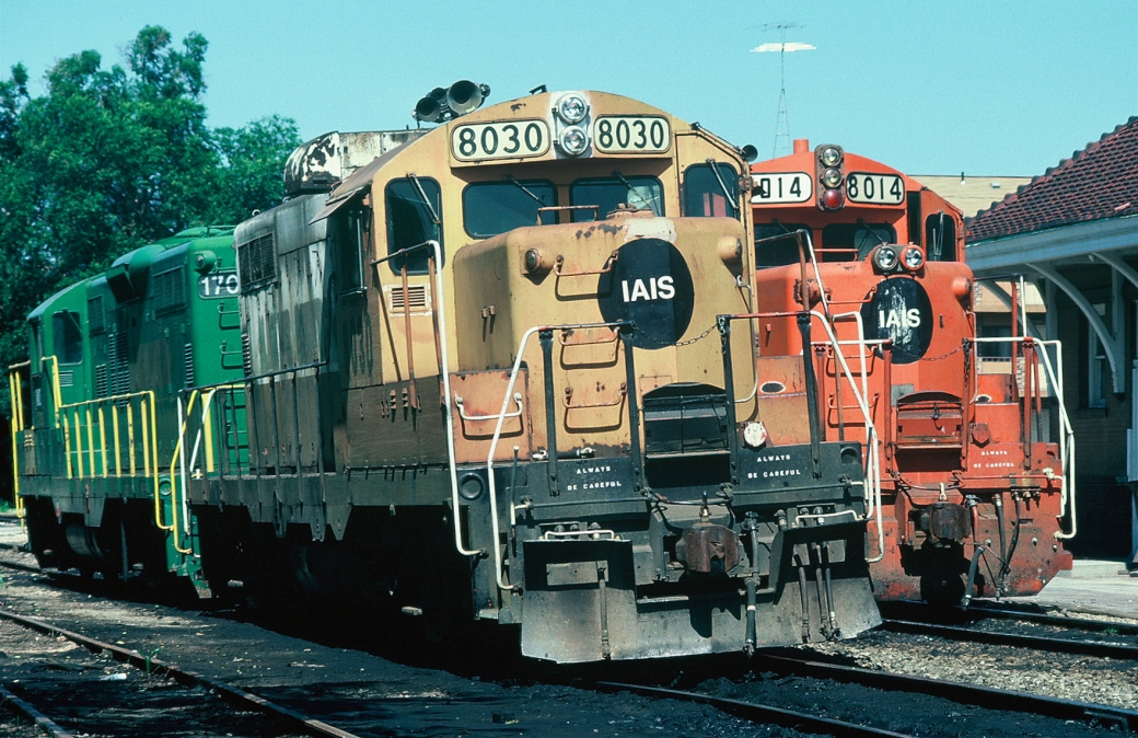 8030, 8014, and 1703 in front of the Iowa City depot on the 4th of July, 1986.