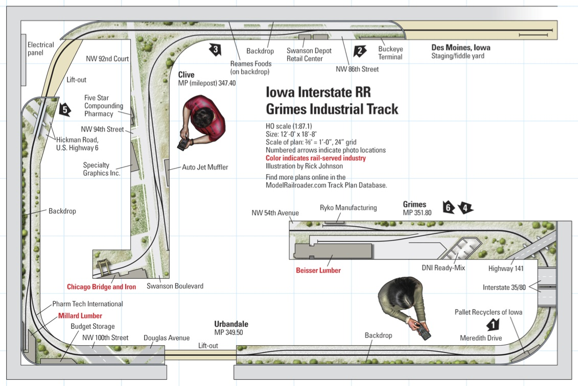 Grimes Line layout plan. Used with permission of Kalmbach Publishing/Model Railroader/Great Model Railroads 2015