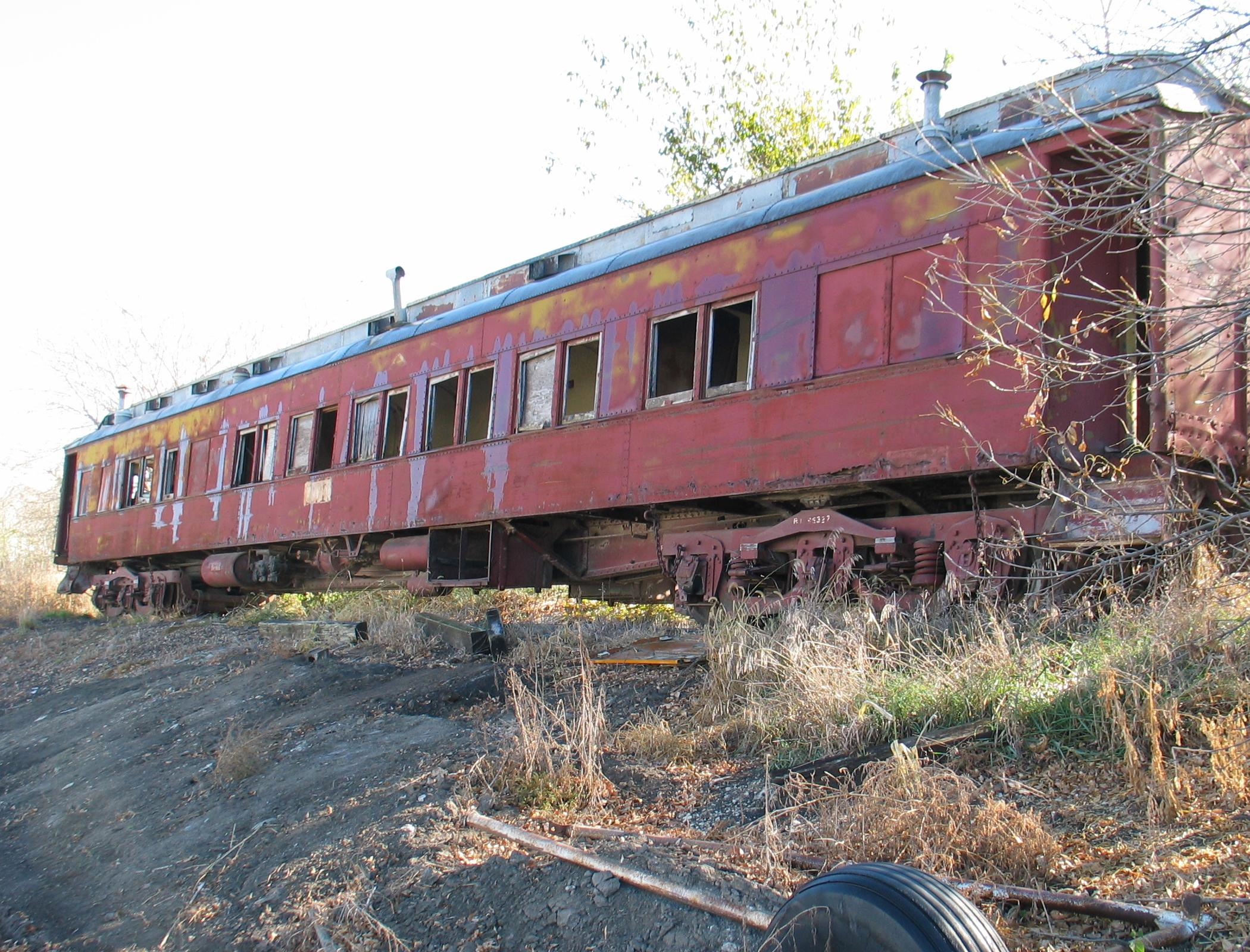 Old Pullman (RI) passenger car on the Pellet spur at Atlantic, Oct. 25, 2005.