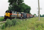701 leads the westbound into N. Star siding.  Aug. 11, 2005